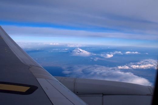 """""""飛行機からの富士山</p"""