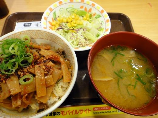 """""""食べラーメンマ牛丼(並)とん汁サラダセット</p"""