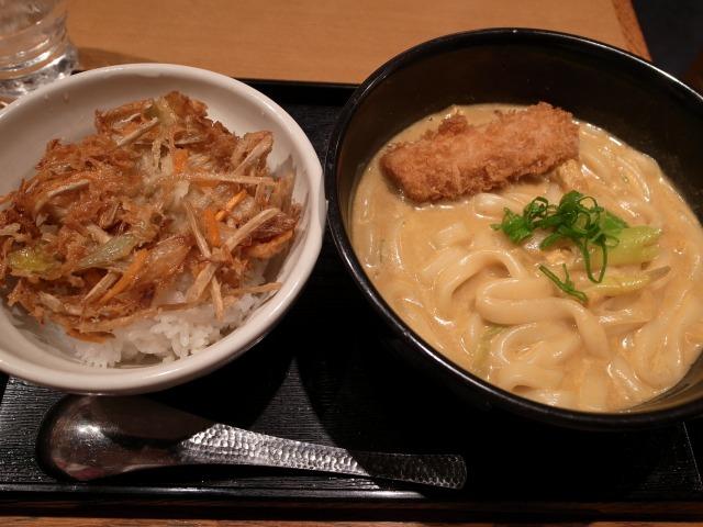 """""""野菜かき揚げ丼セット+マヨ玉@せんきち</p"""