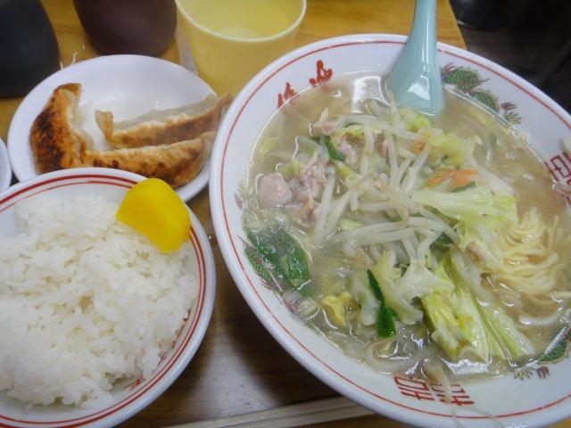 """""""タンメン定食(餃子3ヶ+ライス付)@ラーメン王</p"""
