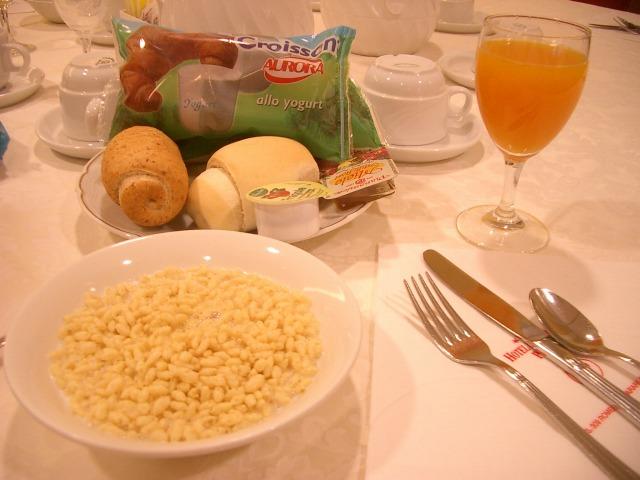 """""""ホテルの朝食@イタリア</p"""