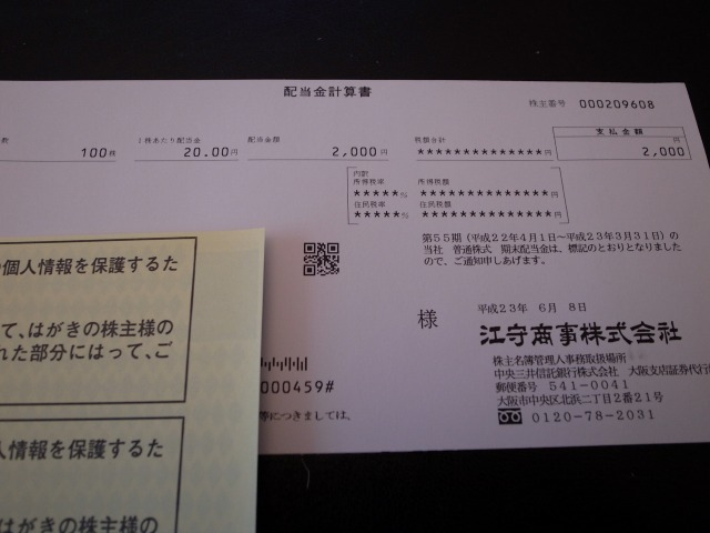 江守商事(株) 配当